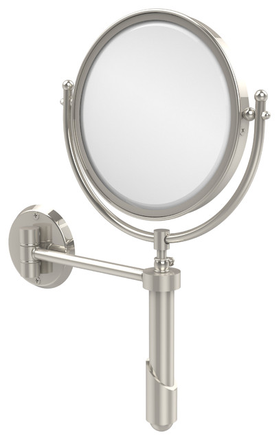 "8"" Extendable Wall Mirror 2x M, Polished Nickel."