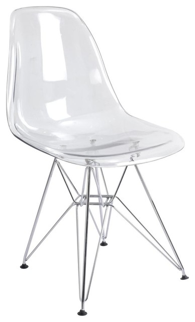 Transparent Acrylic Eiffel Wire Base Side Chair, Clear Midcentury Dining  Chairs