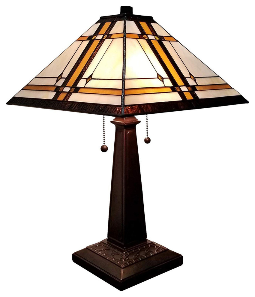 Amora Lighting Am1053tl14 Tiffany Style Mission Table Lamp 22 Inches Tall Craftsman Table Lamps By Ami Ventures Inc