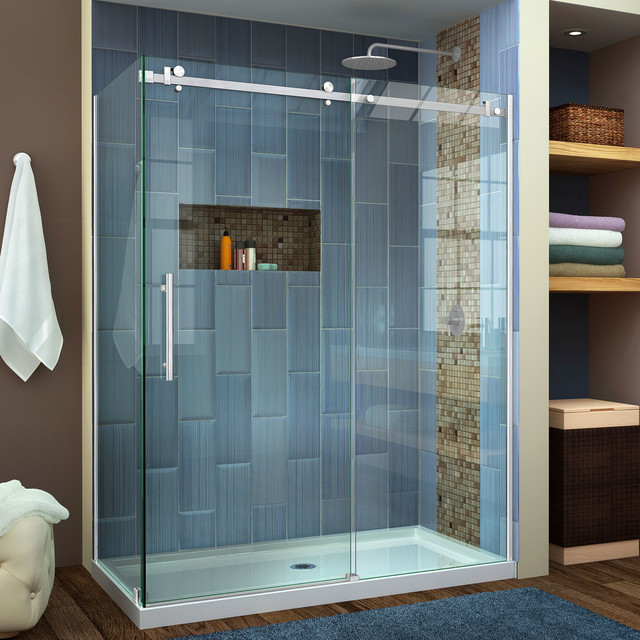 Enigma Air 34.75x 60.38 Frameless Sliding Shower Enclosure Stainless ...