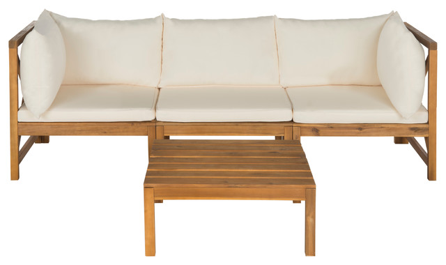 Safavieh Lynwood 2 Piece Outdoor Sectional Set, Teak Brown And White  Beach Style