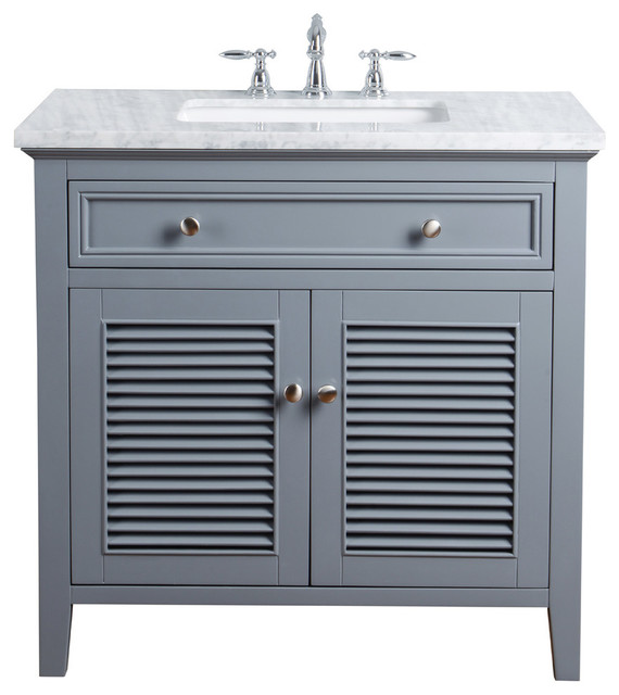 36 Slate Gray Single Vanity Cabinet Shutter Double Doors Single Sink Transitional Bathroom Vanities And Sink Consoles By Beyond Design More Houzz