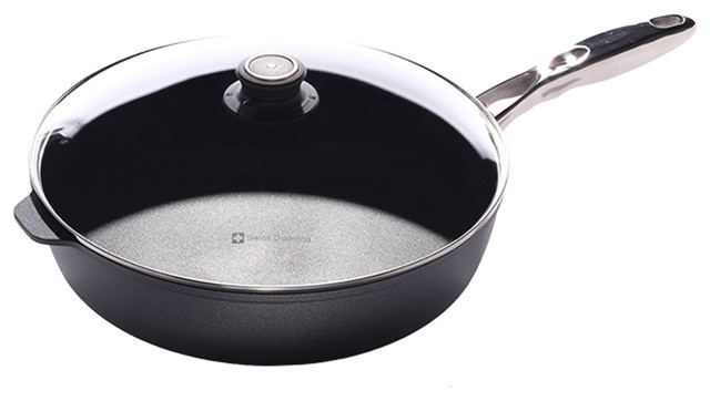 """Swiss Diamond Hd Classic Nonstick Saute Pan With Lid And Ss Handle, 12.5""""."""