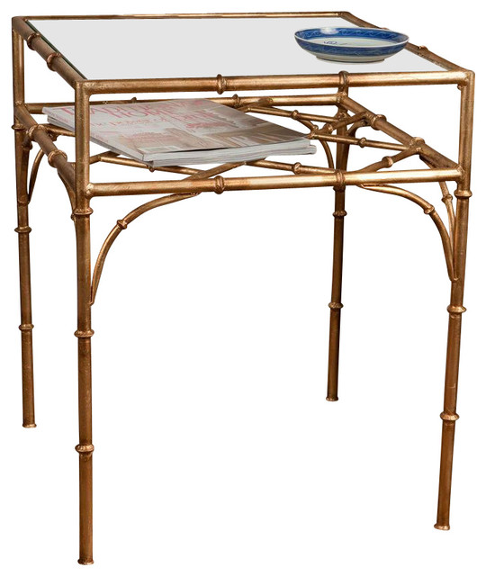 Exceptionnel Square Bamboo Table, Antique Gold