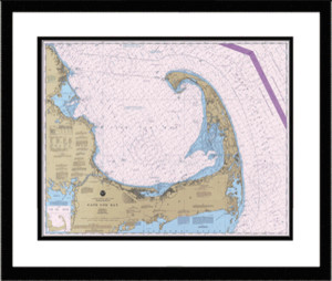 Framed Cape Cod Bay Nautical Chart
