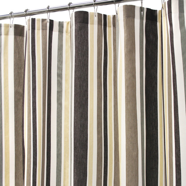 Twill Weave Stripe Shower Curtain 72x72 Naturals Curtains