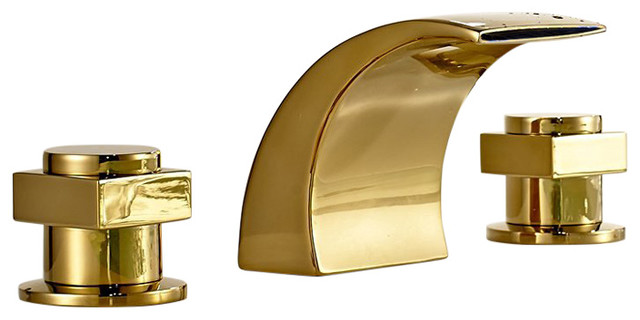 Campinas gold polished led waterfall bathroom sink faucet contemporary bathroom sink faucets for Polished gold bathroom faucets