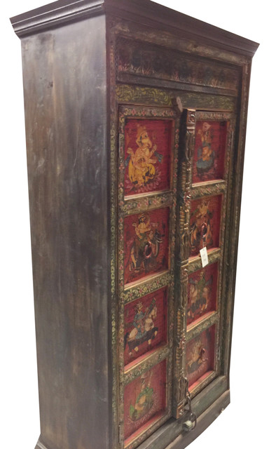Consigned Antique Indian Armoire Maharaja and Ganesha Hand painted Cabinet
