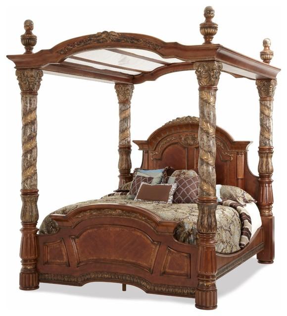 Aico Villa Valencia Eastern King Canopy Bed, Classic Chestnut.