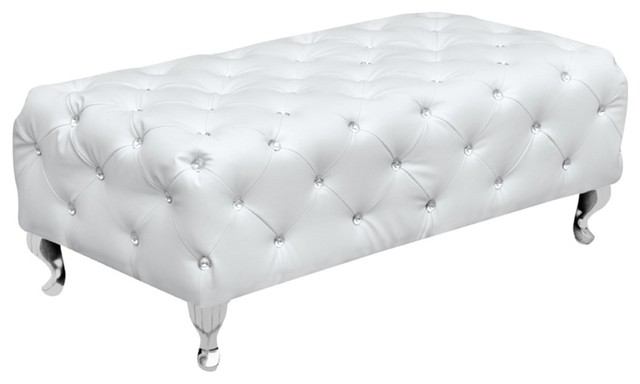Tufted Bench, White - Contemporary - Indoor Benches - by World ...