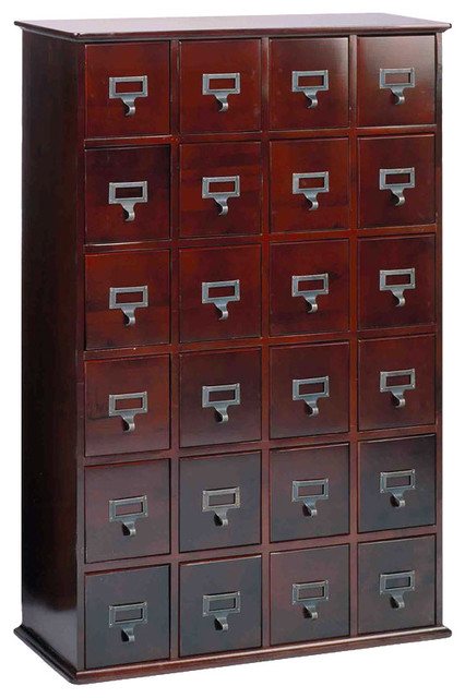 Library 456 Cd Wood Storage Cabinet, 24 Drawer, Cherry.