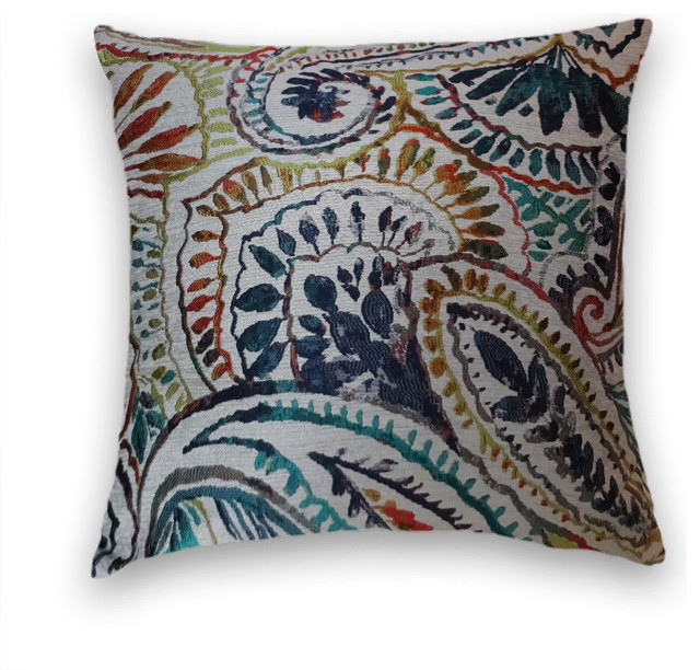 22x22 Decorative Pillows : Green Orange Blue Abstract Throw - Contemporary - Decorative Pillows - by Cody & Cooper Designs