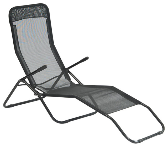 Suntime siesta reclining lounger reviews houzz for Black metal chaise lounge outdoor