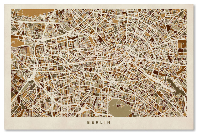 """berlin, Germany Street Map"" Canvas Art By Michael Tompsett."