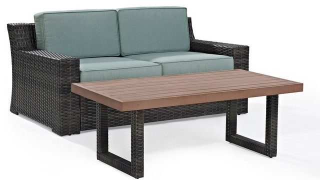 Beaufort 2-Piece Outdoor Wicker Seating Set With Mist Cushion.