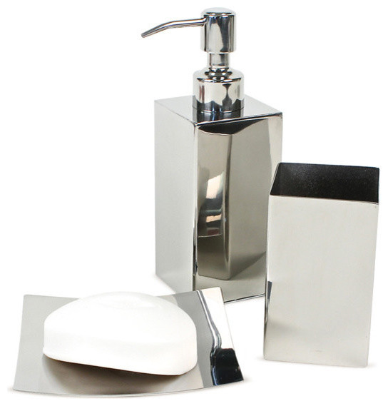 Polished chrome bathroom accessory set modern bathroom for Cream bathroom accessories set