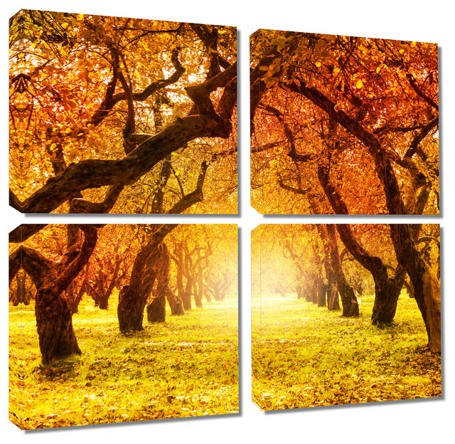 Fall Autumn Park, Tree Path, Canvas Print, 4 Panel Split, Quad Wall ...