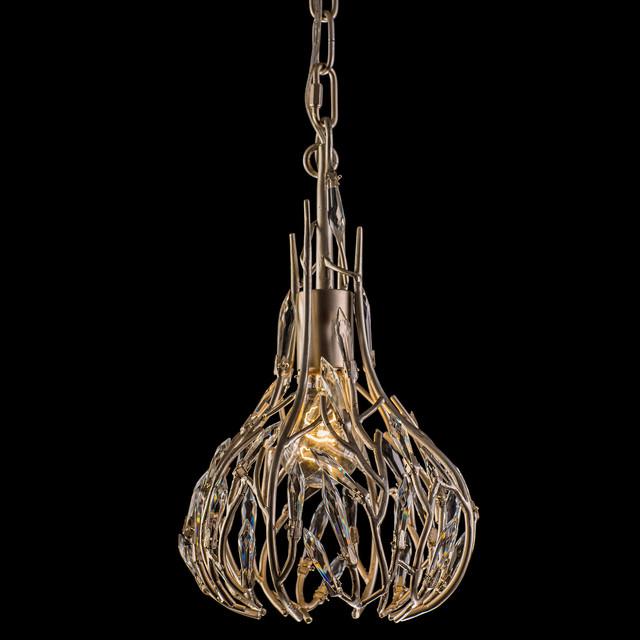 Bask Mini Pendant, Gold Dust Finish, Crystal.