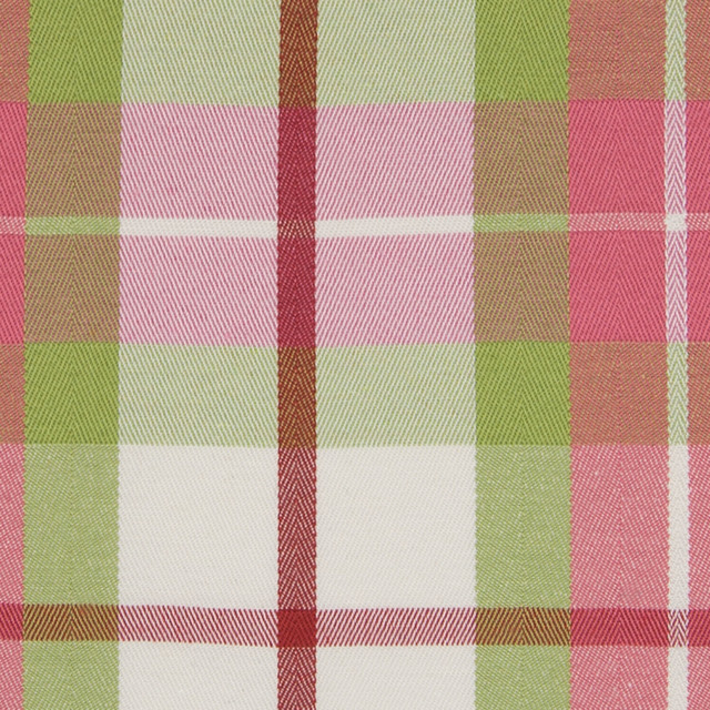 Melon Pink Green Plaid Juvenile Woven Upholstery Fabric ...