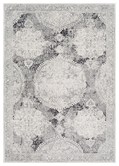 "Harput Updated Traditional Light Gray, Medium Gray Area Rug, 9&x27;3""x12&x27;6""."