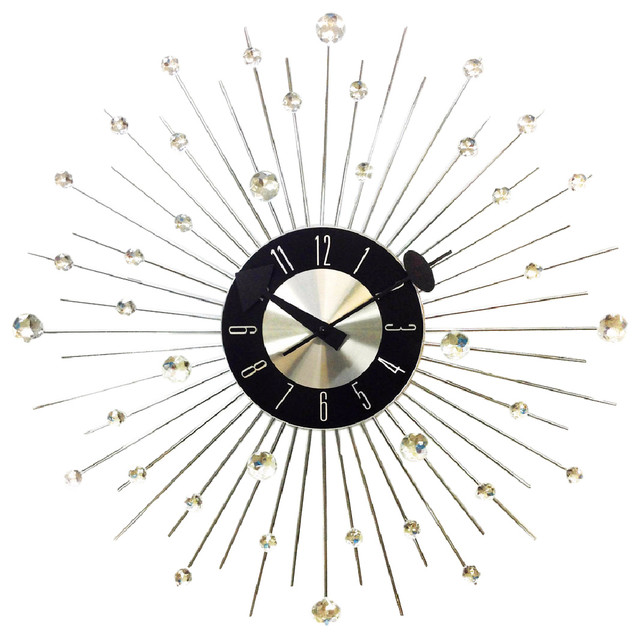 "20"" Mid-Century Modern Bling Crystal Jewels Wall Clock"