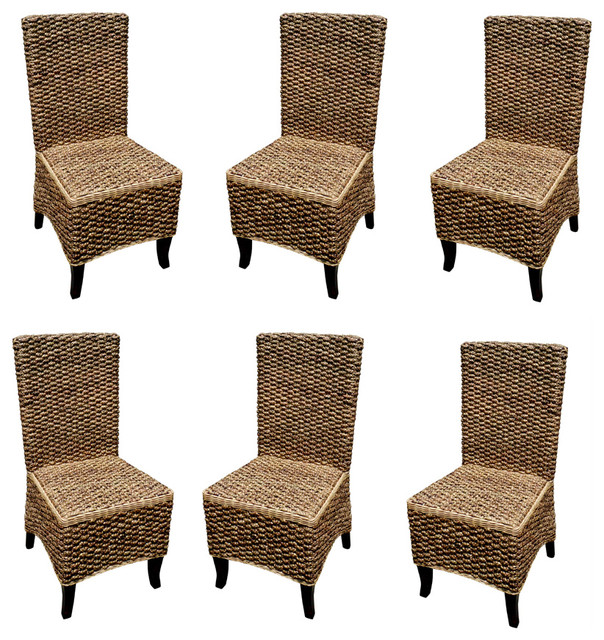Mahogany Seagrass Dining Chair set of 6 pcs Contemporary