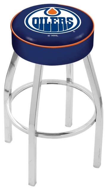Wondrous 25 Edmonton Oilers Cushion Seat With Chrome Base Swivel Bar Stool Alphanode Cool Chair Designs And Ideas Alphanodeonline