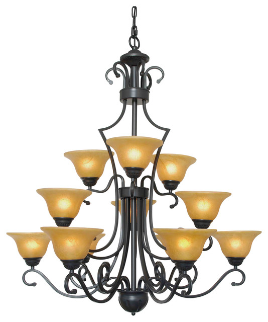 Wrought Iron Chandelier Country French 12-Light Pendant ...
