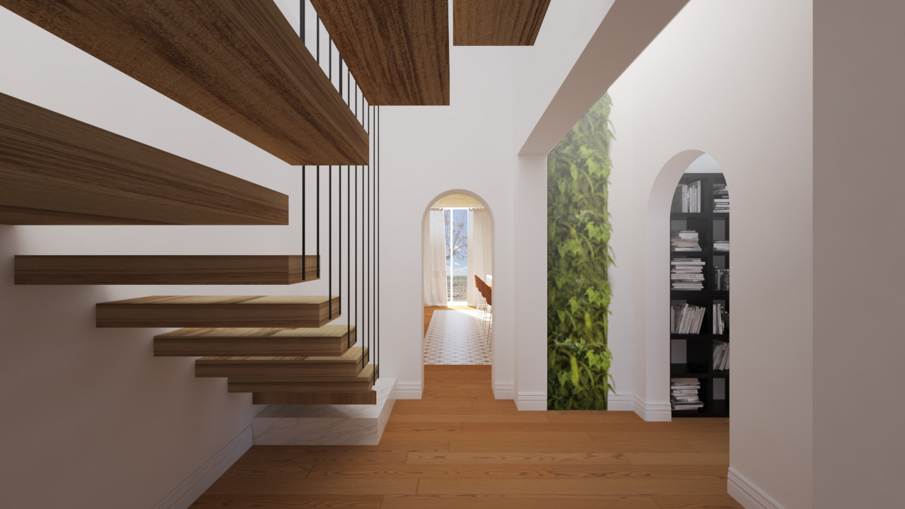 Example of a mid-sized minimalist wooden u-shaped open and cable railing staircase design in Catania-Palermo