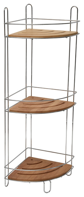 Free Standing Metal Wire Corner Shower Caddy With 3 Bamboo Shelves Color  Brown Contemporary Shower