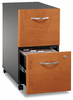 Rolling File Cabinet w Two Drawers in Cherry, Series C - Contemporary ...