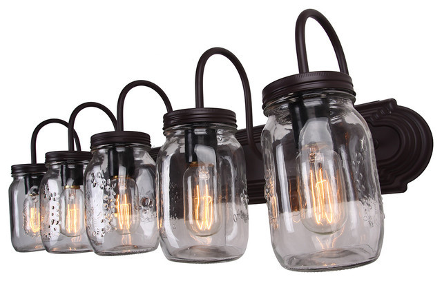 Mason Jar Vanity Light Oil Rubbed Bronze 5 Light Industrial