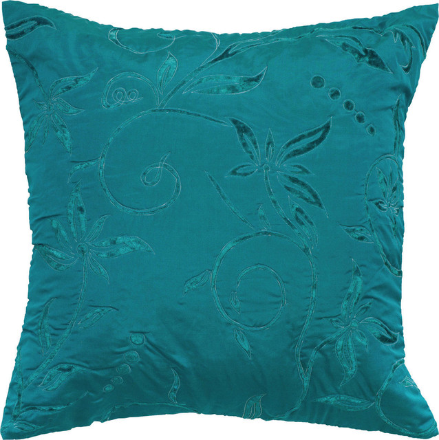 "Flowered Silk, Teal, Polyester Filler, 18""x18""."
