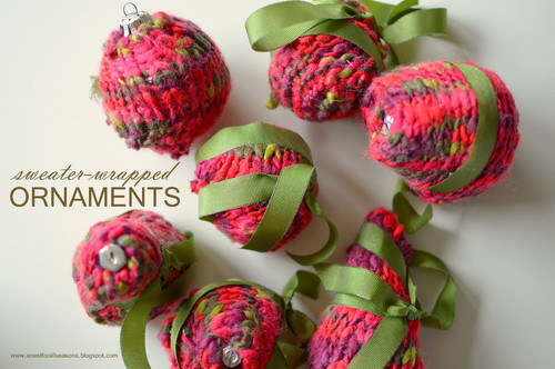 sweater wrapped ornaments