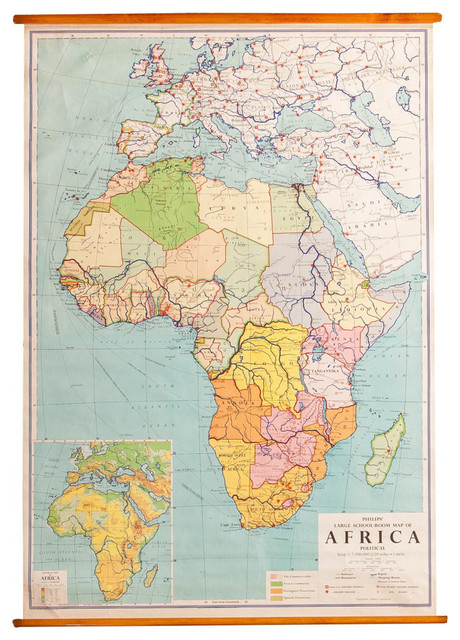 Consigned Vintage Africa Pull Down Map Traditional Prints And
