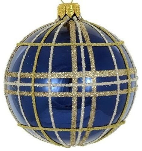 Navy Christmas Ornaments.D Navy Gold Plaid 4 Pc Round Holiday Ornament Set Christmas Tree Decoration