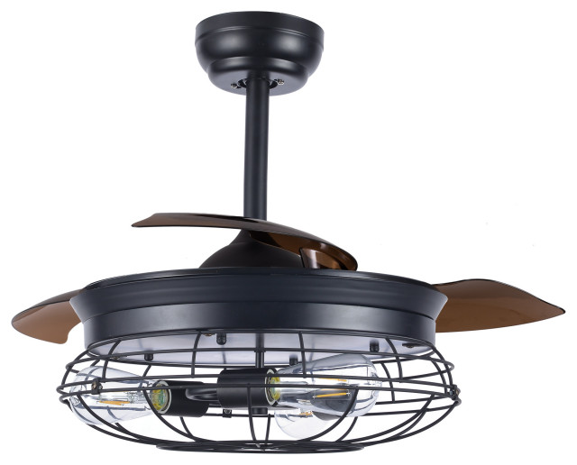 36 Black Modern Industrial Retractable Ceiling Fan With Remote Control Industrial Ceiling Fans By Bella Depot Inc