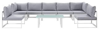 Fortuna 8-Piece Outdoor Sectional Sofa Set, White and Gray