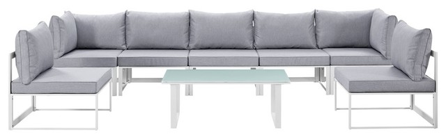 Fortuna 8-Piece Outdoor Patio Sectional Sofa Set, White/gray.