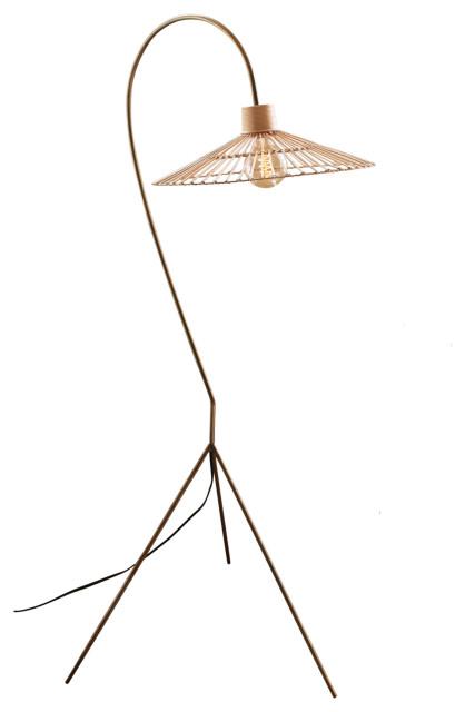 Retro Tropical Antiqued Brass Finish Floor Lamp Rattan Umbrella Shade Arm Task