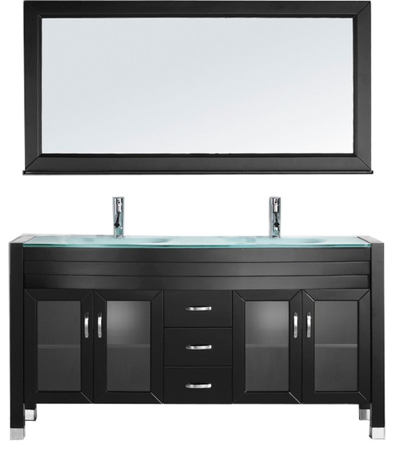 """Geneva Double-Sink Vanity Set, Black With Blue Tempered Glass Top, 63""""."""