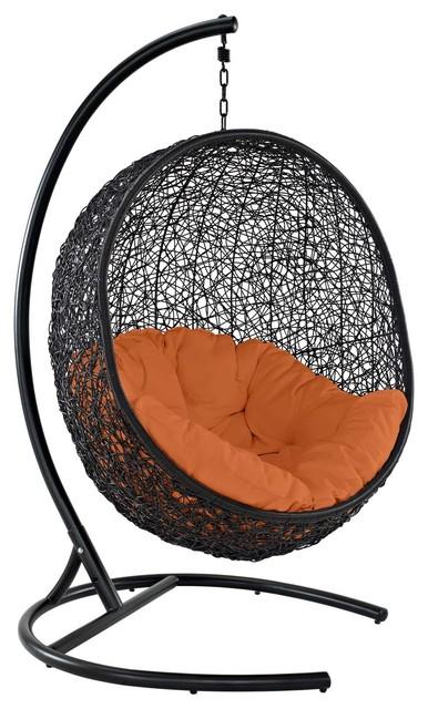 Encase Swing Outdoor Wicker Rattan Lounge Chair, Orange