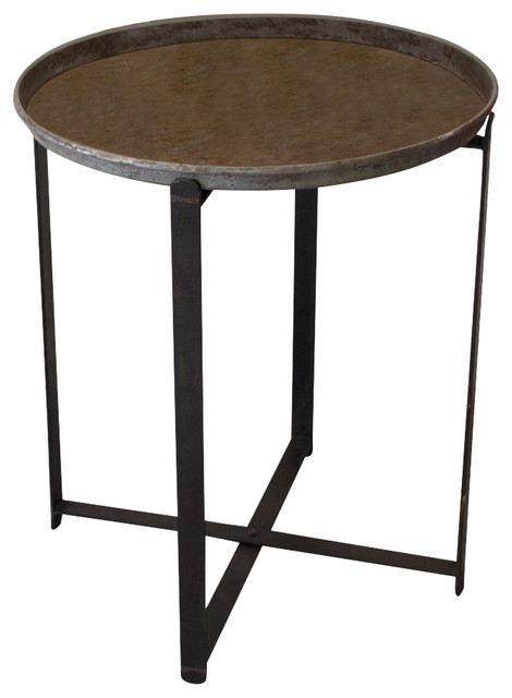 Recycled Round Metal Tray With Folding Base Industrial Side Tables And End Tables By Sun