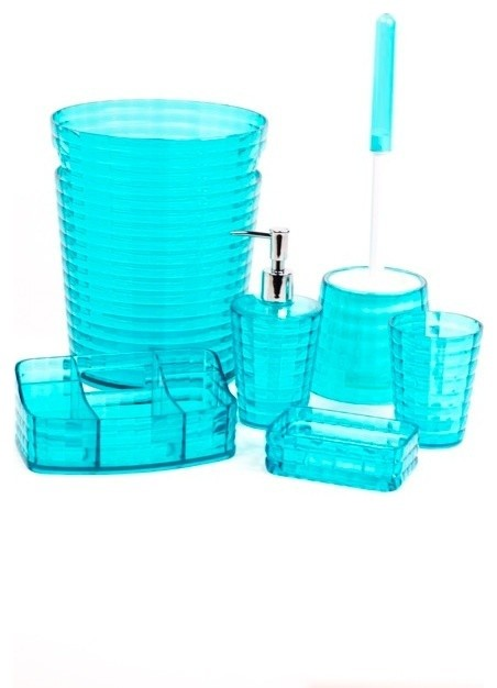 Gedy turquoise 6 piece bathroom accessory set reviews for Turquoise bathroom set