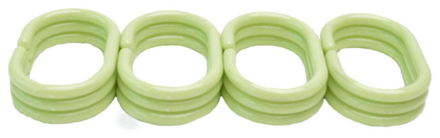 Carnation Sage Green Hang Ease 12-piece Plastic Shower Curtain Hooks.