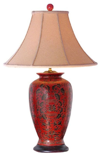 Chinese Red Lacquer Porcelain Vase Table Lamp Shade And Finial 30 Asian Lamps By William Sung