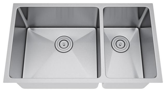 31 X18 Double Bowl 70 30 Undermount Kitchen Sink Without Strai