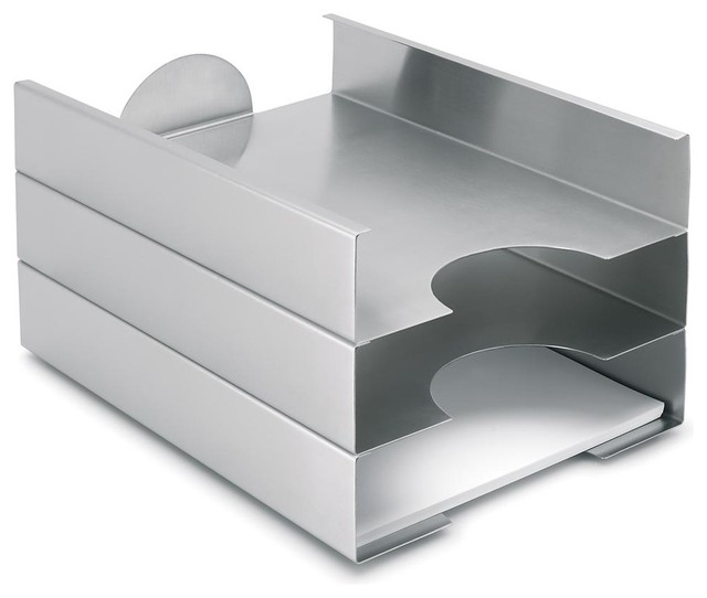 Akto Stainless Steel Filing Tray Set of 3 Contemporary  : contemporary desk accessories from www.houzz.com size 640 x 542 jpeg 34kB