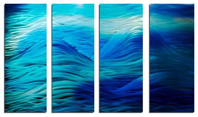 """caribbean"" 36""x""63 Metal Wall Art Abstract By Miles Shay, 4-Piece Set."