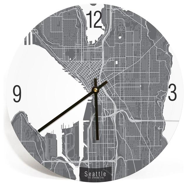 Seattle Washington Map Art Wall Clock Unique Contemporary Art